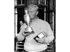 Jack Nicklaus June 9, 1966: Jack Nicklaus kisses the claret jug and holds his medal after winning the British Open at Muirfield, Edinburgh, Scotland. The 26-year-old, winning the championship for the first time, finished with a score of 282. #GolfChannel