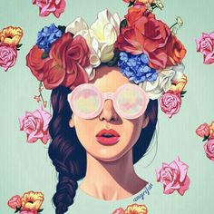 flowers, girl, and art sunglasses glasses shades braid plait braided beauty floral headband headpiece accessories accessorize accessory woman rose roses retro indie hipster art sketch drawing painting 2016 artwork circle brunette beautiful
