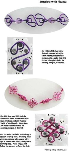 Wire and Beads Bracelets with Pizzazz made with WigJig jewelry making tools, wire and jewelry supplies.