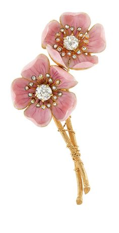 TIFFANY & CO. ~ Antique Gold, Pink Enamel and Diamond 'American Wild Rose' Brooch, by Paulding Farnham for Tiffany & Co. 2 old European-cut diamonds ap. .45 ct., 32 rose-cut diamonds, signed Tiffany & Co., c. 1890.