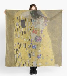 Gustav Klimt The Kiss Scarf by Scar Design. Shop your only at my @redbubble store only $32.69 *$27.79 when you buy 2+ #Klimt #thekiss #lovers #painting #scarf #style #fashion #scarves #womens #accessories #famouspaintings #art #artist #painter #artlover #findyourthing #gift #redbubble