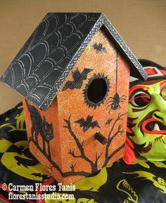 Vintage Halloween Inspired Glittery Haunted Bird House - part of the CHA Designer Craft Connection Blog Hop! Get directions here: http://florestanisstudio.typepad.com/bzzy_little_bee/2012/09/cha-designer-craft-connection-glittery-haunted-birdhouse.html