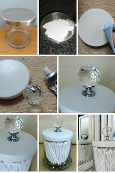 DIY cotton but/q tip holder - make your own out of an empty candle jar. transform an old candle jar tutorial in the link