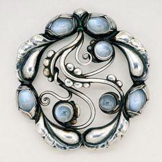 Georg Jensen Moonstone and Sterling Silver Brooch