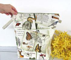 Nature Walk Knitting bag Zipper Project bag for knitters, Mother's day gift, crochet bag