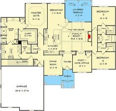 house flooring Everything On One Floor - And Expansion Below - floor plan - Main Level New House Plans, Dream House Plans, House Floor Plans, The Plan, How To Plan, Building Plans, Building A House, Building Ideas, Master Suite