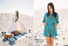 End of Summer Bohemian Shoot on the Beach  Teepee tee pee  dream catcher  Native American indian  teal lace