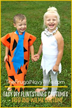 Looking for easy DIY Flintstones Costumes? I have the cutest kids Fred and Wilma costume!! It's so easy to make and you kids will love it as much as you do! #frugalnavywife #flintstones #fredflintstone #wilmaflinstone #halloween #kidscostumes #diycostumes | Halloween Costume Ideas | DIY Halloween Costumes | Kids Halloween Costumes | Flinstones Costumes | DIY Flintstone Costumes for Kids Baby Halloween Costumes For Boys, Costumes Kids, Halloween Kids, Costume Ideas, Halloween Crafts, Halloween Makeup, Happy Halloween, Halloween Decorations, Flintstones Costume
