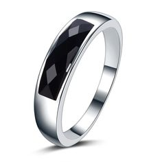 2016 new arrival high quality black agate gem 925 sterling silver ladies`finger rings jewelry gift wholesale