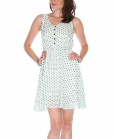 Another great find on #zulily! White & Black Polka Dot Button-Up Dress by Fuchhi Style #zulilyfinds