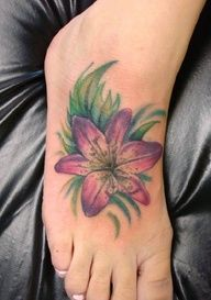 tiger lily tattoo I want to add this to my foot with the kids names!!!!