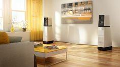 Intégration d'un système de son dans un salon au design contemporain. Modern Design and Sound System.