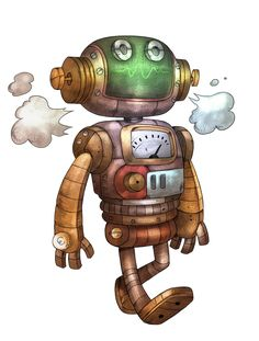 Steampunk Robot Cartoon Character Illustration | Caricature ...