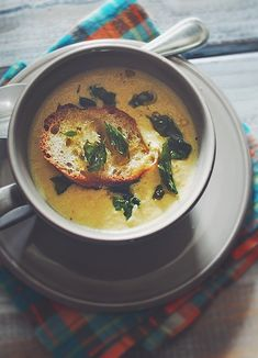 Corn Soup - use vegetable stock and butternut squash soup, frozen corn and a bit of bacon for flavor. top with greek yog.