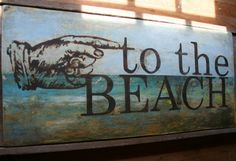 painted beach sign on reclaimed wood by reclaimedartistry on Etsy, $100.00