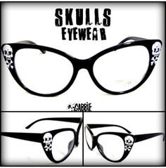 Skulls Eyewear - Vintage Retro Cat Eye Eyeglasses Frame - Custom Painted - One of a kind! Lunette Style, Estilo Pin Up, Grunge, Skull Fashion, Cat Eye Glasses, Skull Jewelry, Rockabilly Fashion, Skull And Bones, Glasses Frames