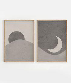 Sun and Moon Print Set of 2 Abstract Landscape Beige Gray Diy Wall Art, Diy Art, Wall Art Sets, Print Moon, Minimal Art, Art Minimaliste, Deer Print, Abstract Landscape, Contemporary Landscape