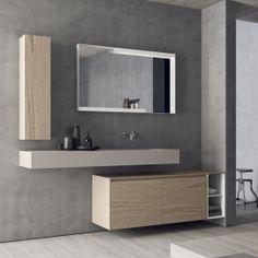 Composizione Bagno Sospesa Design Moderno Calix Novello