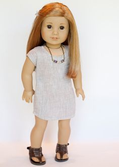 Linen tan shirtdress by EverydayDollwear on Etsy. Made using the NOT! For Knits Tee Shirt pattern, found at http://www.pixiefaire.com/products/not-for-knits-tee-shirt-18-doll-clothes. #pixiefaire #notforknitsteeshirt