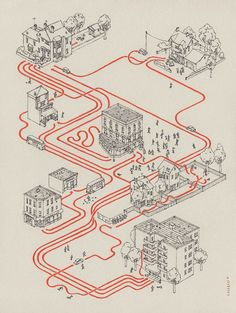 With his Movie Maps project, the illustrator Andrew DeGraff decided to draw the maps of the cult movies of pop culture, this is Shaun of the dead