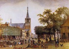 Josephus Augustus en/of Mattheus Derk Knip. Markt in Helmond met Lambertuskerk. Gouache, begin 19de eeuw. Gemeentemuseum Helmond.