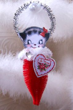 Valentine Kitten Vintage Style Chenille Feather Tree Ornament