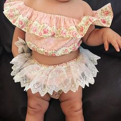 Baby girl toddler girls babies first birthday cake smash vintage fabric playsuit off the shoulder ruffle crop top boho ruffle bloomers soft