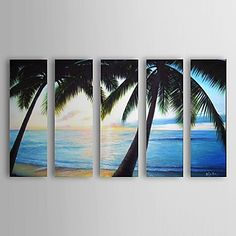Hand Painted Oil Painting Landscape Sea with Stretched Frame Set of 5 1306-LS0321 – USD $ 189.99