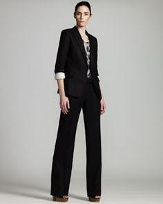 -3S75 Stella McCartney Peaked-Lapel Jacket & Straight-Leg Pants