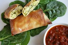 baked chicken spinach and artichoke egg rolls