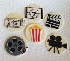 Movie Theme Fondant Cupcake Cookie Toppers by LIVCreativity, $24.00