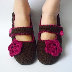 Crochet Slippers Womens Mary Janes House Shoes Socks with Flower in Fucshia Romance (Size 7-10). $18.00, via Etsy.