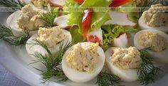 Jajka Z Pieczarkowym Nadzieniem(1) Polish Recipes, Polish Food, Potato Salad, Sushi, Appetizers, Cooking Recipes, Chicken, Ethnic Recipes, Poland