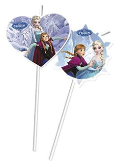 ❄ Frozen Party: 6 Trinkhalme * FROZEN ICE SKATING * für Kindergeburtstag oder Motto-Party // Kinder Geburtstag Party Drinking Straws Strohhalm Motto Disney Elsa Anna Olaf Schlittschuhe die Eiskönigin