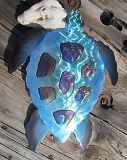 abstract metal wall art Blue SEA TURTLE SCULPTURE home decor Hawaiian Honu