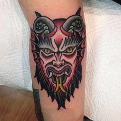 Traditional tattoo demon