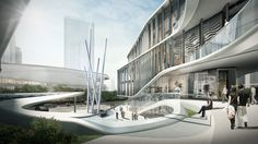 Four corporate investors have come together to develop the sqm Danzishi Central Business District with a common vision to create a premium business a. Building Skin, Mix Use Building, High Rise Building, Concept Architecture, Futuristic Architecture, Landscape Architecture, Shopping Mall Architecture, Future Buildings, Mall Design