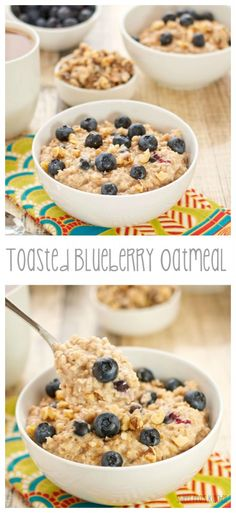 Toasted Blueberry Oatmeal with cinnamon and walnuts