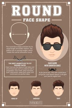 Round Face ★Face shapes guide to matching your haircut perfectly. Take advantage of your unique face shape features and enhance them with your head and facial hair. Face Shape Hairstyles Men, Haircuts For Round Face Shape, Round Face Men, Haircut For Face Shape, Hair Styles Face Shape, Round Face Shapes, Short Hairstyles For Round Faces, Short Sides Haircut, Side Haircut