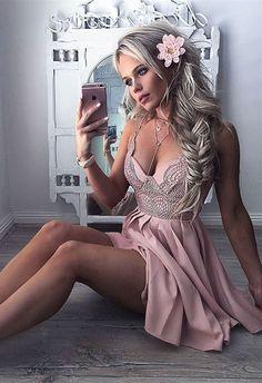 A-Line Dress,Spaghetti Straps Dresses,Short Lace Dress,Blush Dresses,Homecoming Dresses Short,Homecoming Dresses 2017,Dresses For Teens,Party Dresses,Summer Dresses,Women's Fashion