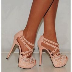Nude Lace Strappy Studs Stiletto Platforms High Heels Party Prom Shoes- without the studs! Lace High Heels, Platform High Heels, Cute Heels, Sexy Heels, Strappy Heels, Pretty Heels, Nude Sandals, Gladiator Heels, Sandal Heels