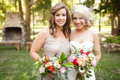 cute bride and bridesmaid, photo by Ben Sasso http://ruffledblog.com/sweet-santa-fe-river-ranch-wedding #bridesmaids #flowers