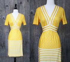Vintage 60's Mod Dress // Polka Dot Stripe M-L $42