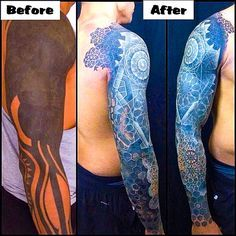 Colour & White Ink Over Black Work Tattoo's.    http://blog.tattoodo.com/2015/03/color-white-ink-over-blackwork-tattoos/