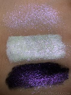 """Illamasqua Pure Pigment """"Static"""" Swatches: (from top to bottom): nude base, NYX Milk, NYX Black Bean"""