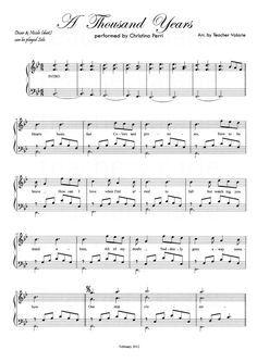 Partituras Musicais: A thousand Years - Christina Perri - para Piano - n.º 779