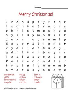FREE Christmas word search puzzles for school or home! Christmas Worksheets, Christmas Activities For Kids, Free Christmas Printables, Christmas Games, Christmas Crafts, Christmas Word Search, Christmas Words, Noel Christmas, Puzzles For Kids