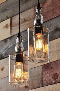 Jack Daniels Bottles repurposed into light fixtures.