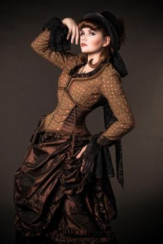 Brown and copper ensemble with matching corset and top and lovely bustle skirt