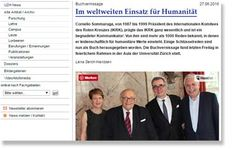 UZH News über das Buch ‹Im weltweiten Einsatz für Humanität. Cornelio Sommaruga, Präsident des IKRK›, hrsg. v. Joseph Jung